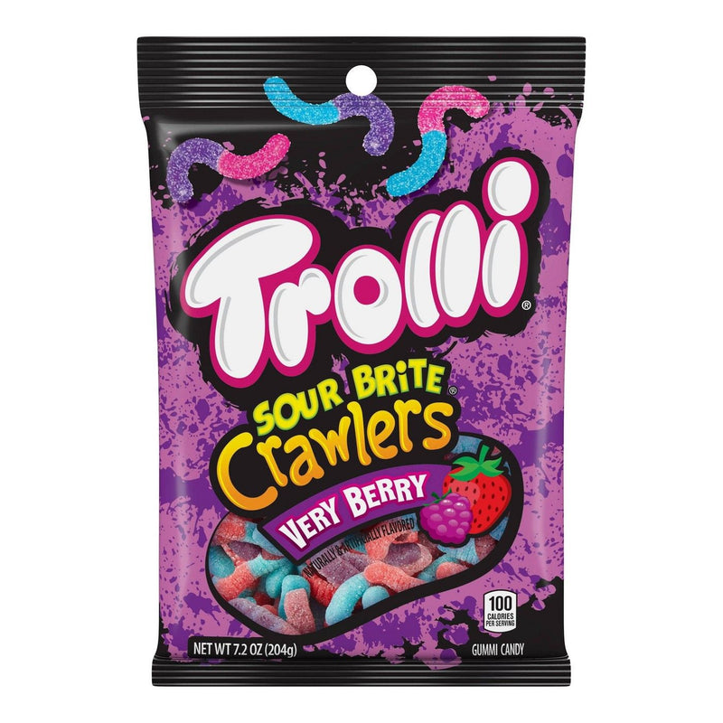 Trolli Sour Brite Crawlers Very Berry Flavor Fat free Gummi Candy with sour sugar, 5 Ounce