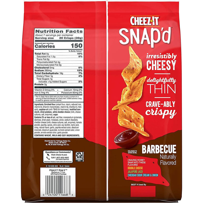 Cheez It Snap'd Barbecue 100 Percent Real Cheese Thin and Crispy Baked Snacks, 7.5 Ounce