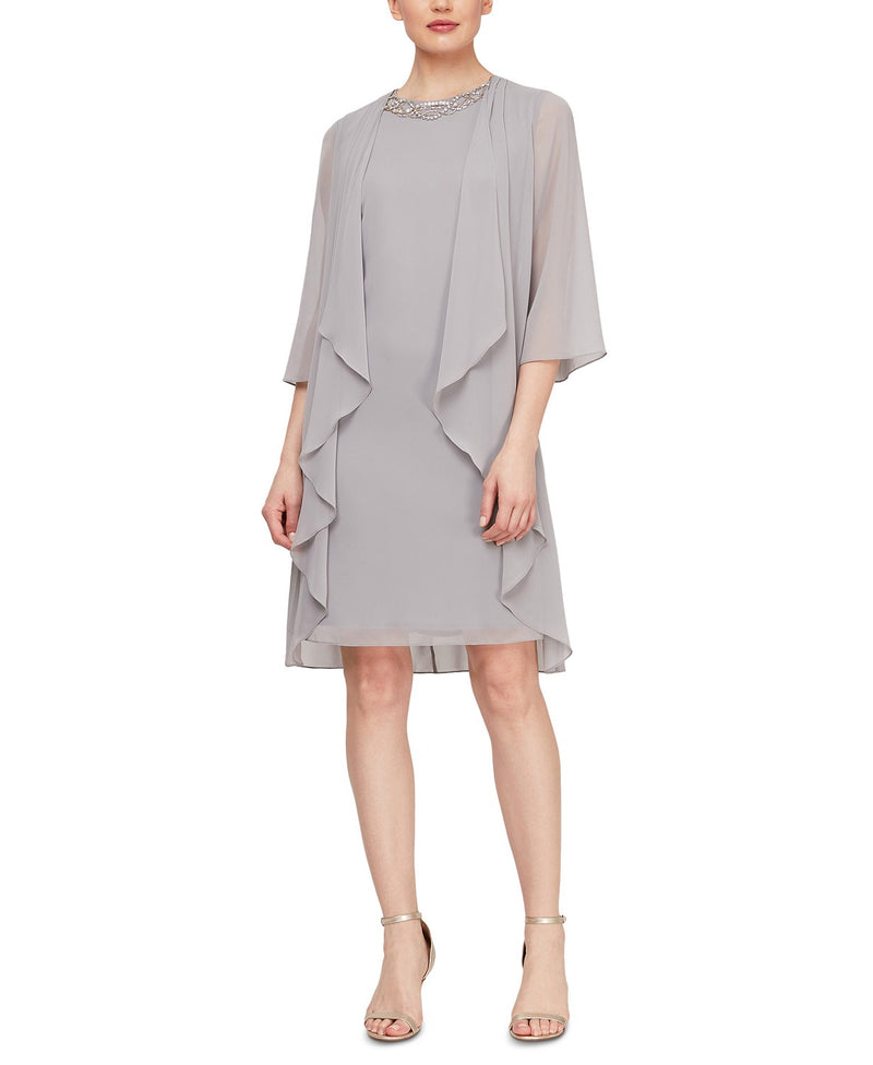 SL Fashions Sheer Woven Round Neckline Chiffon Tier Jacket Dress, 12, Mercury Gray