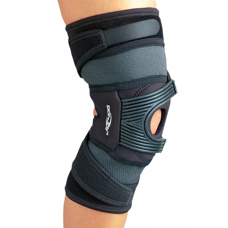 DonJoy Tru-Pull Advanced System Right Knee Brace With Pull Strap Closure, Medium: 18.5 Inches - 21 Inches Circumference, Black