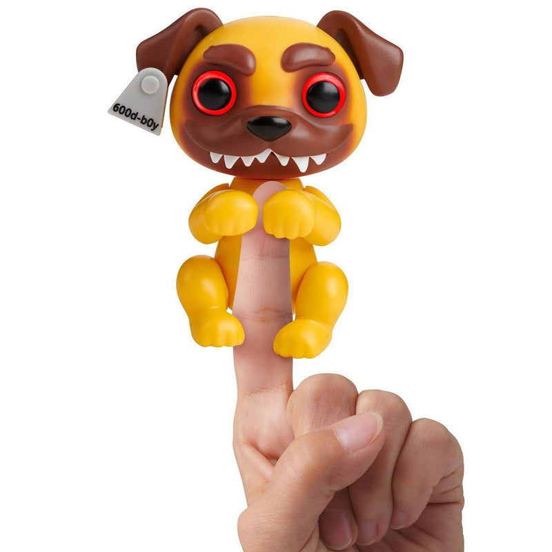 WowWee Grimlings Pug Fingerling Interactive Pet Eyes Light Up and Teeth Retract Figure Animal Toy