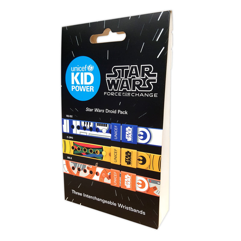 Unicef Kid Power Bands With Three Interchangeable Star Wars Band Straps Designed As R2D2, C3PO and BB8, MultiColored