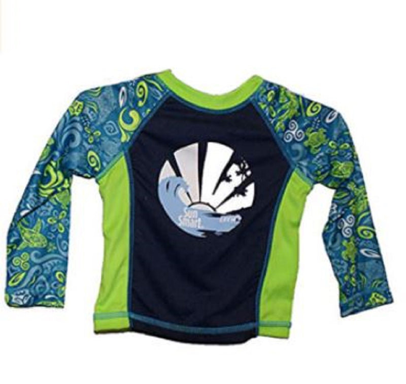 Sun Smart Surf's Up Quick Drying Protective Sleeve and Collar Swim Tee Rash Guard, Small, Green