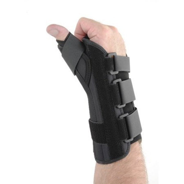 Form Fit 8 Inches Long Left Wrist Support with Thumb Spica, Large: 8 Inches-9 Inches, Black