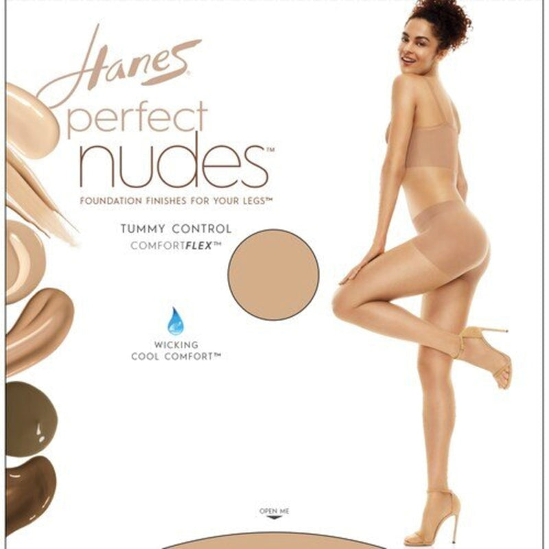 Hanes Perfect Nudes Tummy Control Nylon and Spandex Pantyhose, Large Size, 10 Denier, Buff