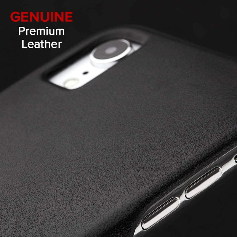 Case-Mate Apple iPhone XR Barely There Premium Genuine Leather Case, Smooth Black