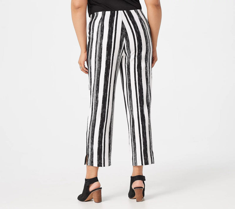 Dennis Basso Printed Luxe Crepe Pull-On Cropped Length Pants, X-Large, Black Stripe