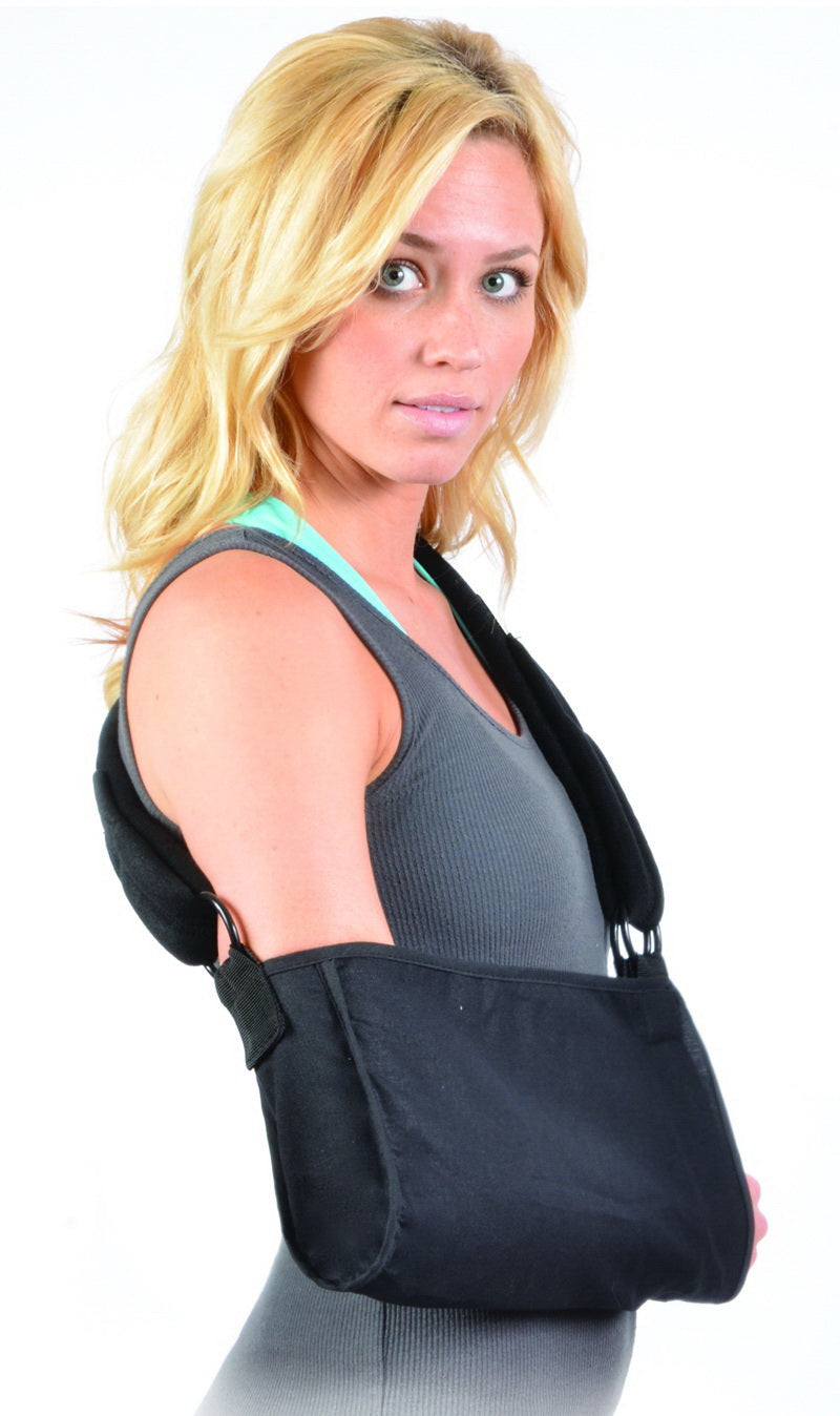 Hely & Weber 500 GUS Adult Arm Sling With Padded Strap, Open End With Soft Thumb Loop, 12 Inch By 14 Inch, 7 Inch Height, Medium, Black