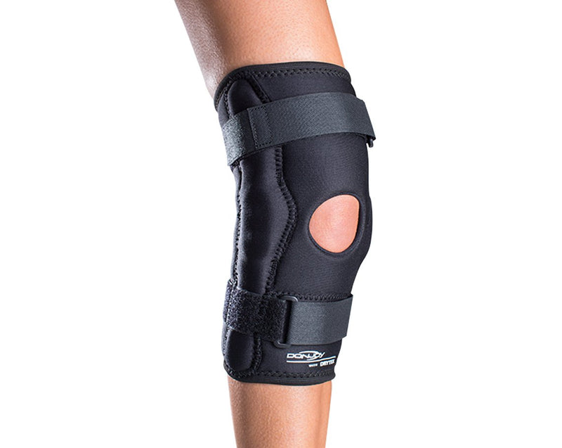 DonJoy Deluxe Hinged Neoprene Knee Sleeve with Popliteal Cutout and Horseshoe Buttress, Small, Black