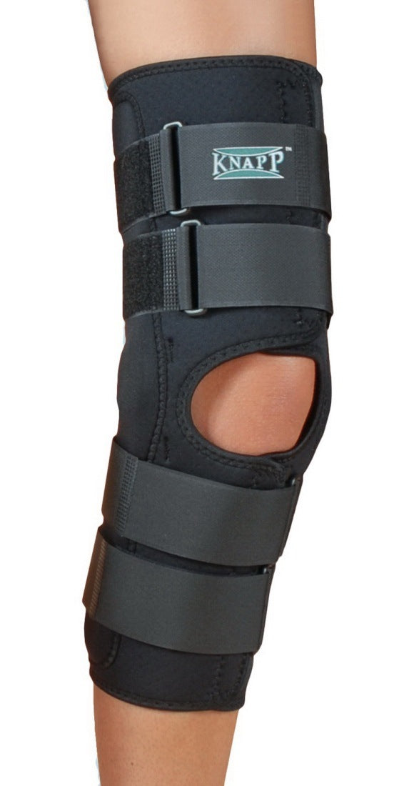 Hely and Weber Knapp Hinged Knee Orthosis 12 Inch Heavy Hinge Length Anterior Closure, Extra Small: 12 Inches, Black