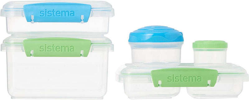 3-PACK Sistema To Go 36-Piece (12-Piece/Set[3 Sets]) Lunch Food Storage Transparent Container Set, BPA-free, Green/Blue