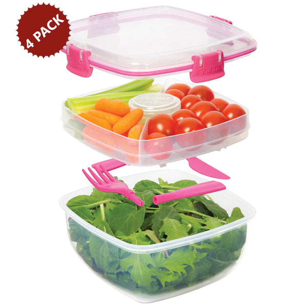 4-PACK Sistema Salad To Go 1.1 Liter Lunch Box Food Container with Removeable Tray and Cutlery