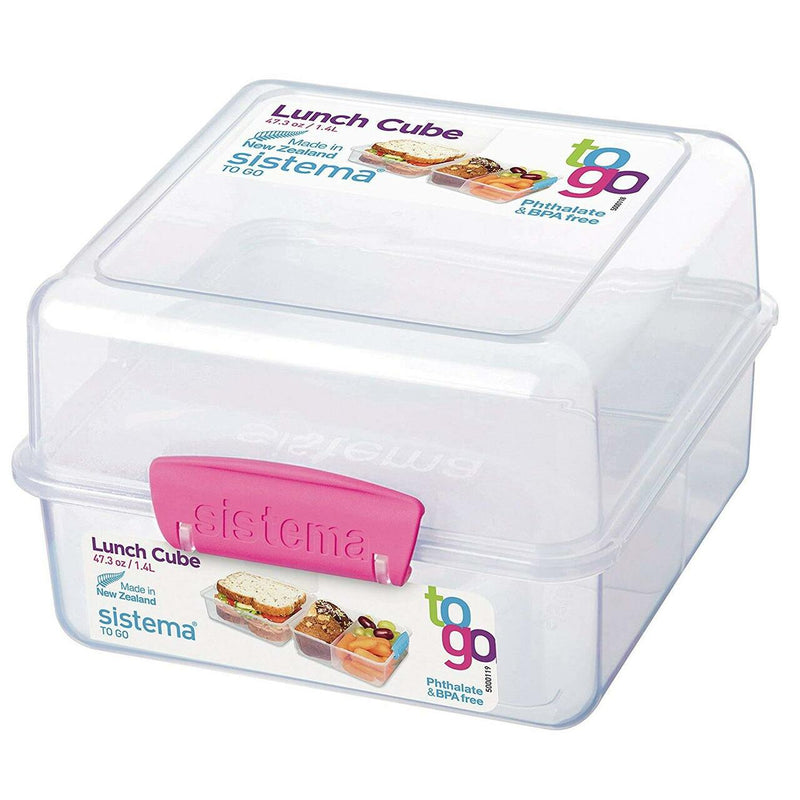 Sistema To Go Collection Lunch Cube Compact Food Storage Container, 5.9 Cup, Great for Meal Prep, BPA Free, Reusable, Freezer and Microwave Safe, 48 oz.