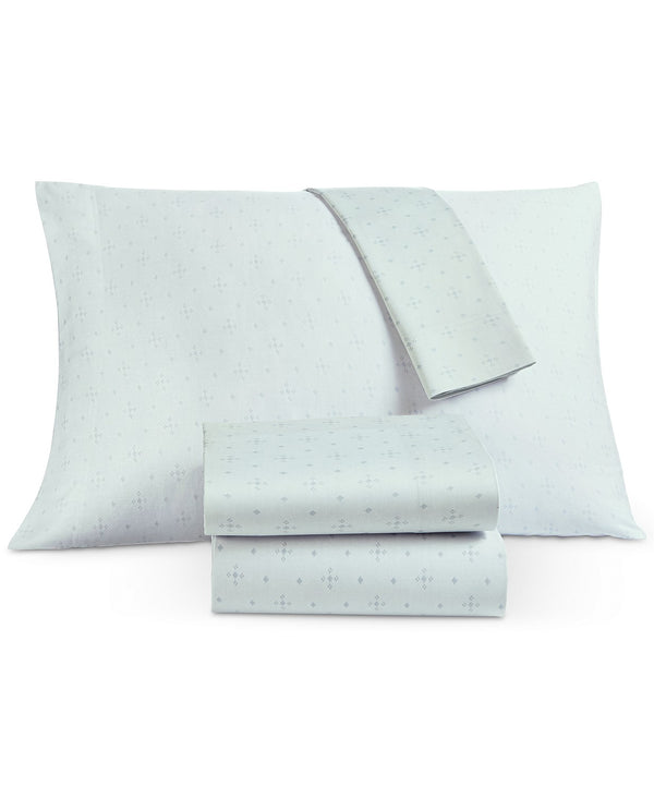 Lucky Brand Laguna Set of Two Pillowcases, Featuring a Light Blue Ground with Blue Accents, King, Gray