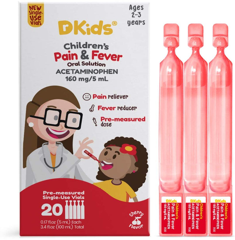 Dr. Kids Children's Pain Reliever and Fever Reducer Oral Solution Acetaminophen, Cherry, 20 Count