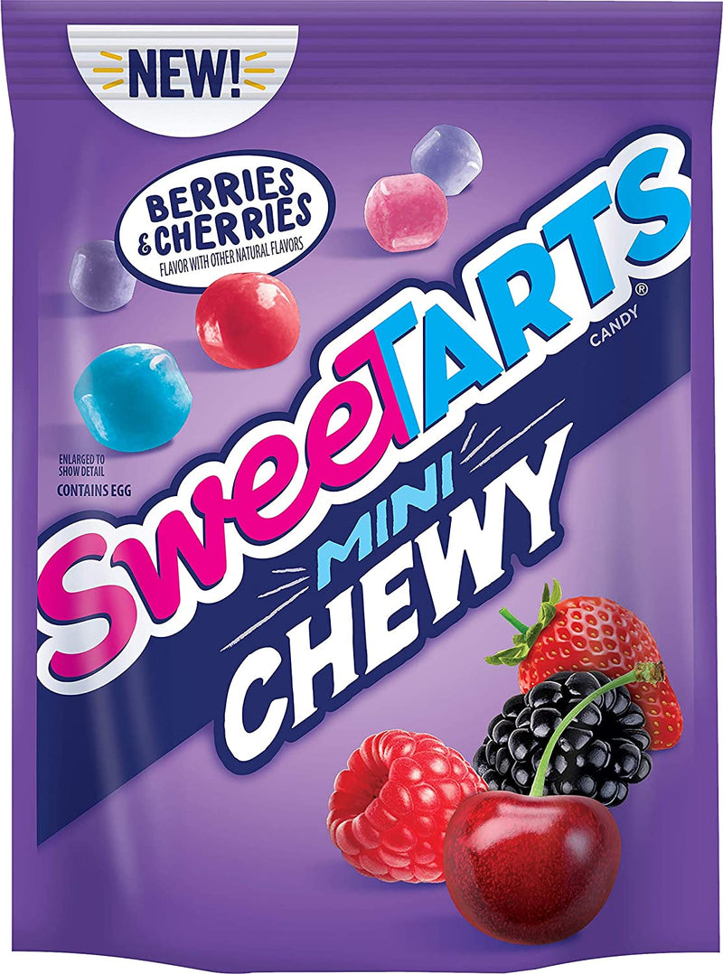 SweeTarts Mini Chewy Berries and Cherries, Made of Natural Colors, No Artifical Flavors, 12 Ounce