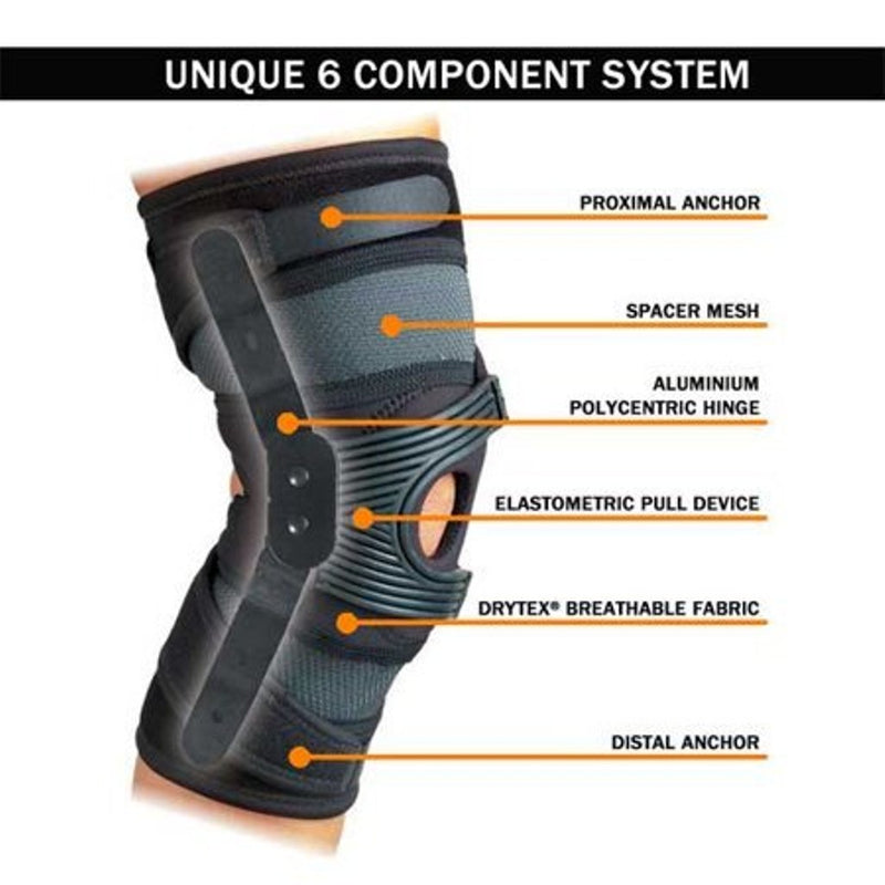 DonJoy AirCast Hinged Tru-Pull Knee Support Right for Patella Misalignment/Dysfunction, X-Small: 13 Inches - 15.5 Inches