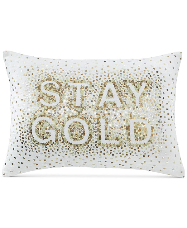 Martha Stewart Collection Whim Stay Gold 14 X 20 Inch Decorative Pillow, White Gold