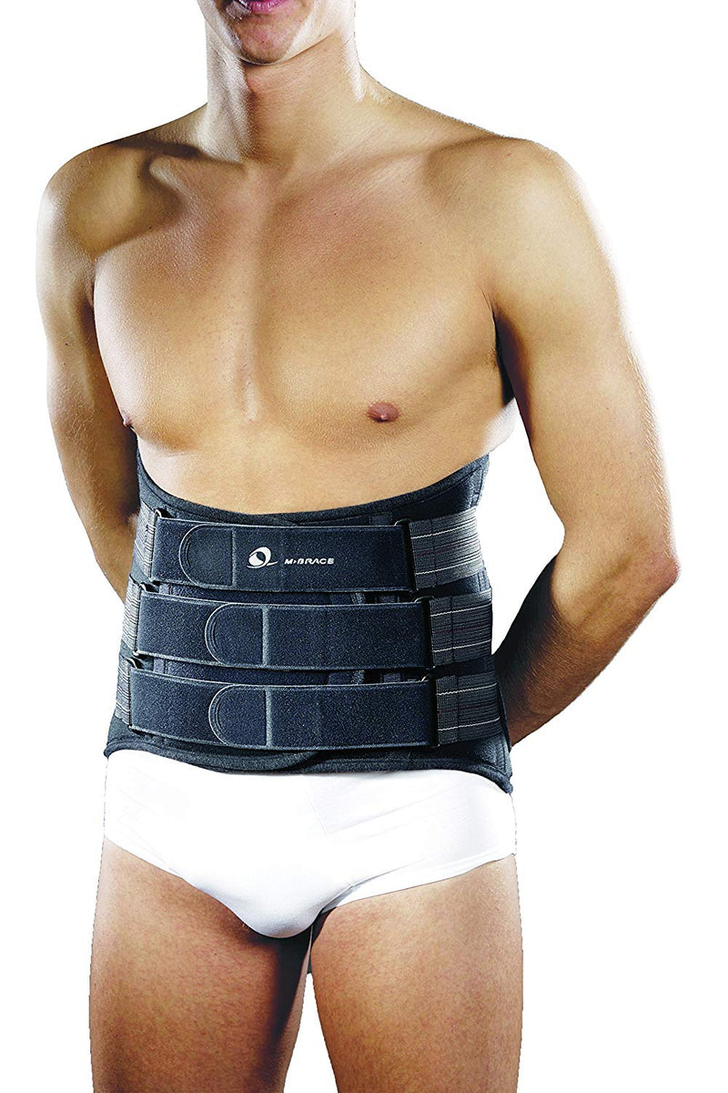 M Brace Lumbar Sacral Brace, Neoprene And Latex Free, Optimum Anatomical Fit, Conforms To Any Body Shape, Large: 85cm - 110cm, Grey