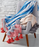 Martha Stewart Collection Whim Tassel, Featuring The Soft Touch of Cotton and a Stylish Striped Pattern, Size Throw,  Dimensions: 50 Inches x 60 Inches, Blue