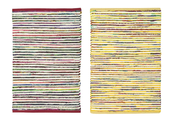"2-PACK Nourison Montclair Stripe Accent Floor Area Rugs 24"" x 36"" or 30"" x 48"" Cotton/Polyester/Rayon Made, Assorted Colors"