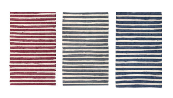 "2-PACK Nourison Brunswick Stripe Accent Floor Area Rugs 24"" x 36"" or 30"" x 48"" Cotton/Polyester Made, Assorted Colors"