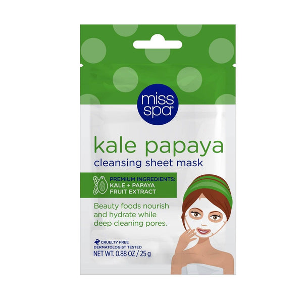 Miss Spa Kale Papaya Fruit Extract Cleansing Sheet Mask for Purification and Nourishing, 1 Count