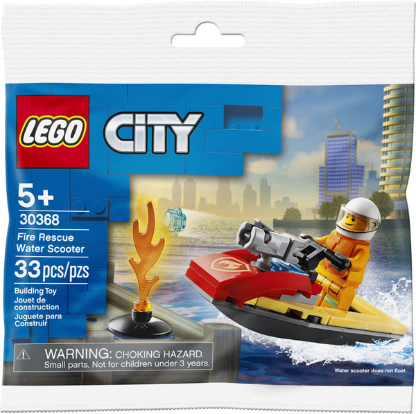 Lego City 33-Piece Fire Rescue Water Scooter Building Construction Toy Set, For Age 5+