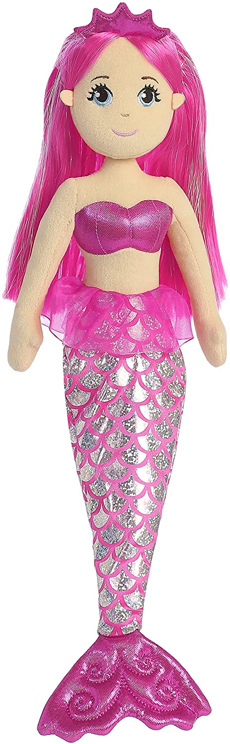 Aurora World Shimmers Genuine Sea Sparkles Embroidered Facial Garnet Mermaid, 18 Inches