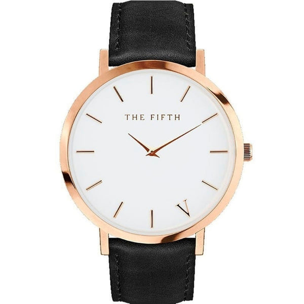 The Fifth Oversized Modern Design Leather Watch with Rose Gold Case and White Dial, Black