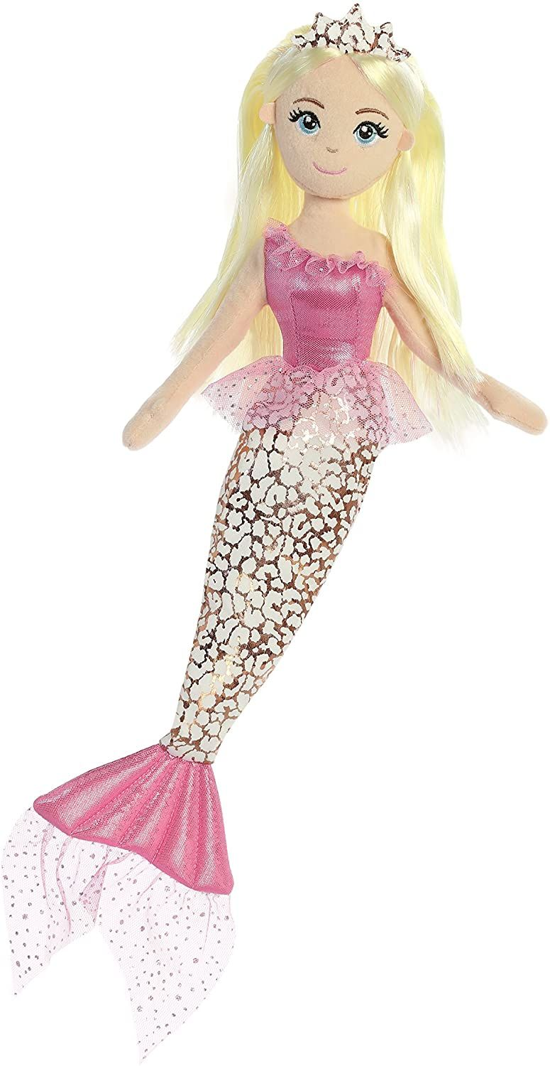 Aurora Sea Eye Catching Sparkles and Shimmer Fabrics Jungle Mermaid, 18 Inches, Cheetah Pink