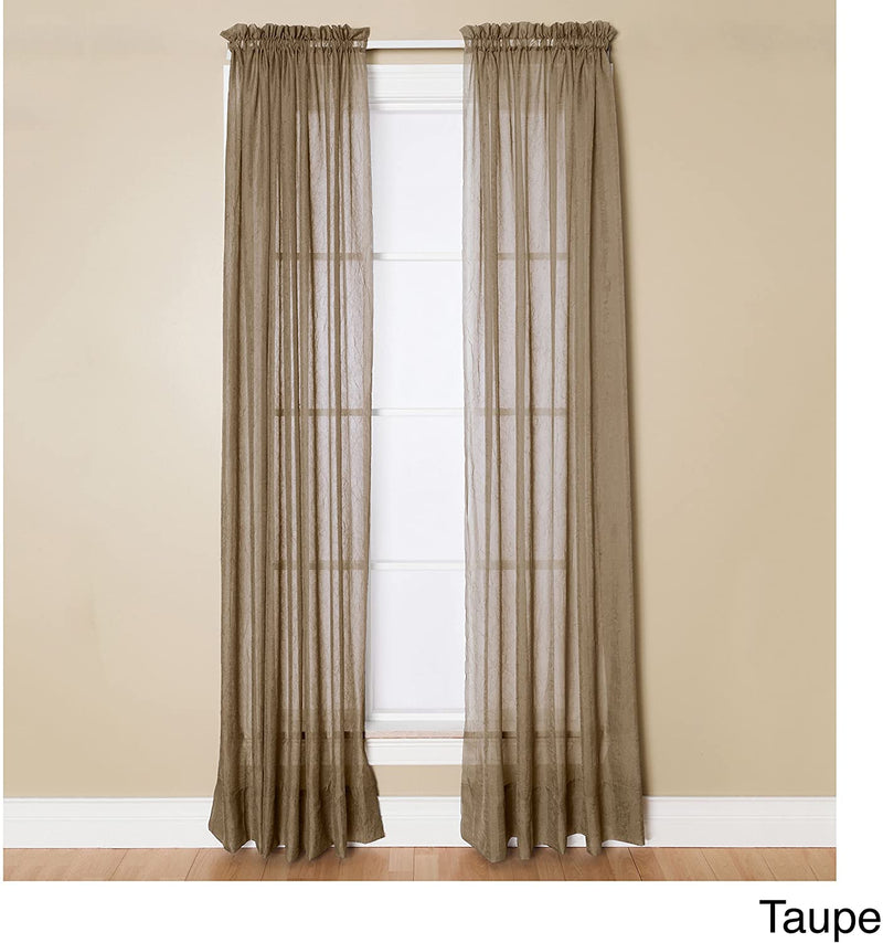 Miller Curtains Sheer Preston Rod Pocket Panel, Made of Flowing Crushed Voile, 51 Inch by 95 Inch, Beige