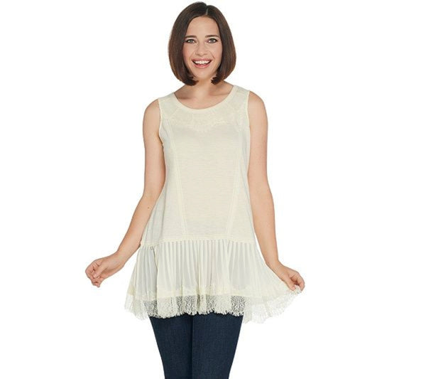 LOGO by Lori Goldstein Cotton Tank with Lace & Pleated Trim, Medium, Cloud Cream