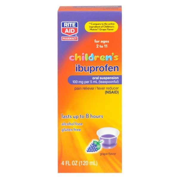 Rite Aid Children's Ibuprofen, Relieves Minor Aches and Pains, Temporarily Reduces Fever, Grape Flavored, 4.0 Ounce