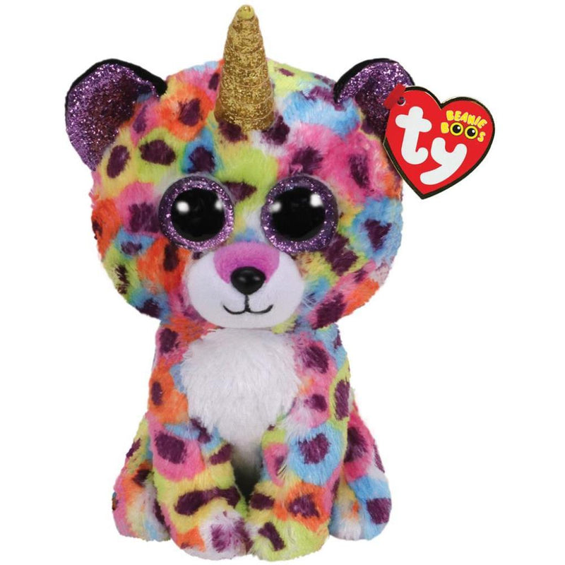 TY Toys Beanie Boos Leopard Giselle with Horn, 6 Inch, Suitable from 3 Years and Above