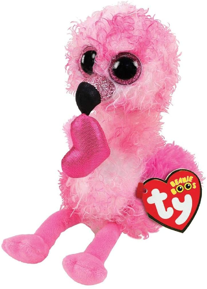 TY Beanie Boos 100 Percent Polyester Dainty Plush Fabric Brightly The Flamingo Plush