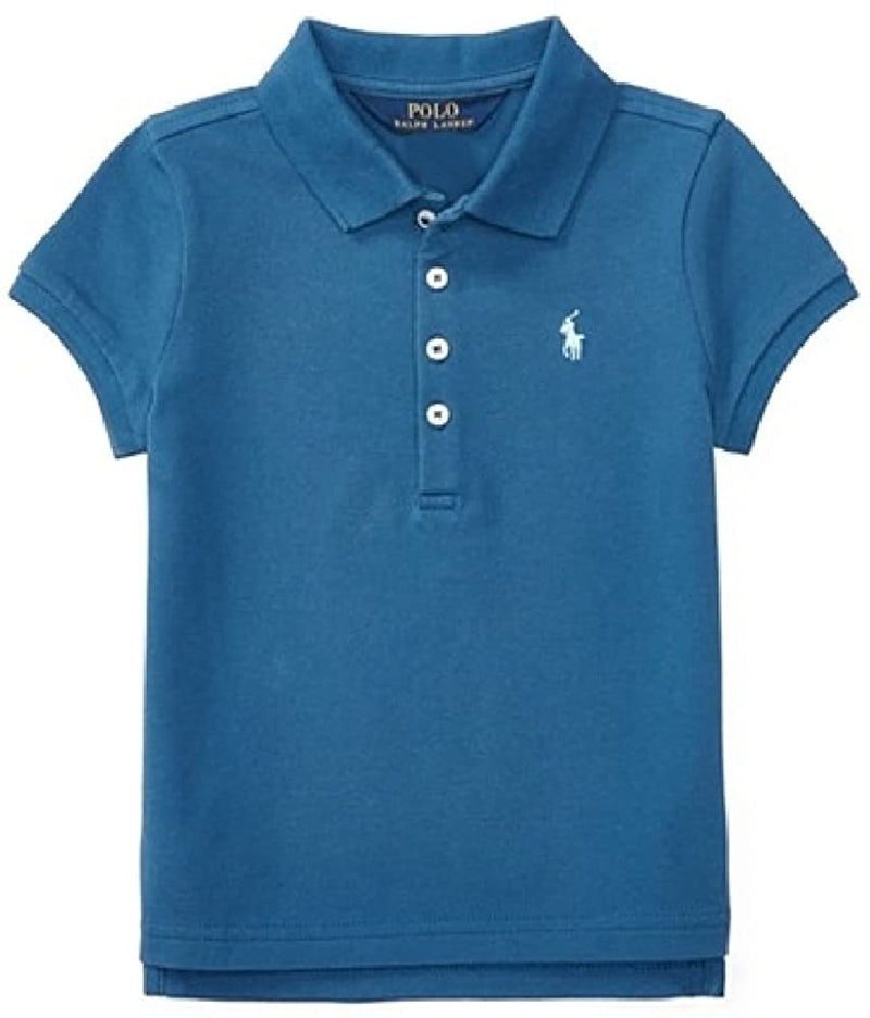 Ralph Lauren Girls' Cotton Mesh Polo Short Sleeve Shirt with Ribbed Armbands, Size: 6X, Blue
