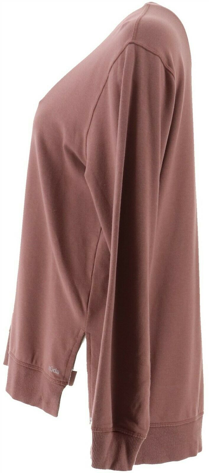 Zuda Z-Knit French Terry Pullover Semi-Fitted Side Slits Sweatshirt, Medium, Rose Taupe