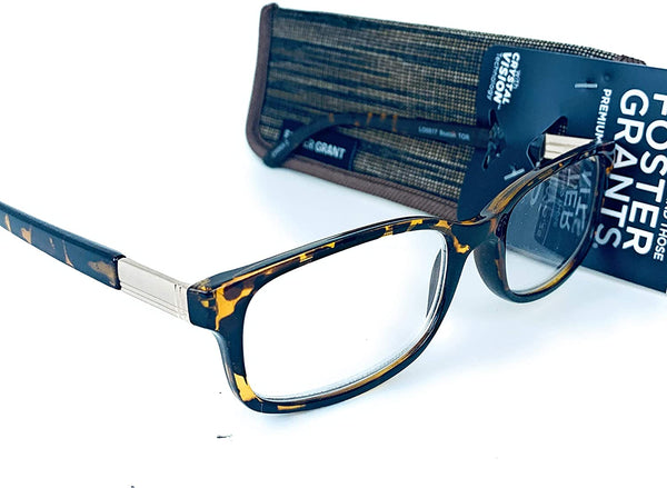 Foster Grant Premium Construction Reading Glasses With Crystal Vision Technology, Boston Tortoise, +1.25 Strength