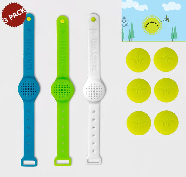 3-PACK Not in My Backyard Silicone Insect Mosquito Bug Repellent Wristband with 6 Inserts, BPA Free, Assorted Colors