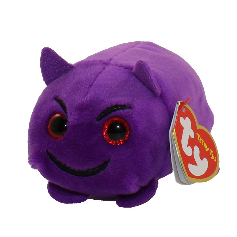 TY Beanie Boos Teeny TY's Stackable Plush Emoji Devil Toy, Made of a Soft Micro Fiber to Clean the Screen of Your Phone or Other Electronic Screens, 4 Inch, Purple