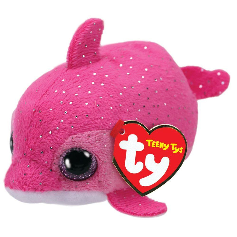 Teeny TY Floater Stackable Plush Glitter Eyes Retro Look Dolphin Stuffed Animal Toy, Pink