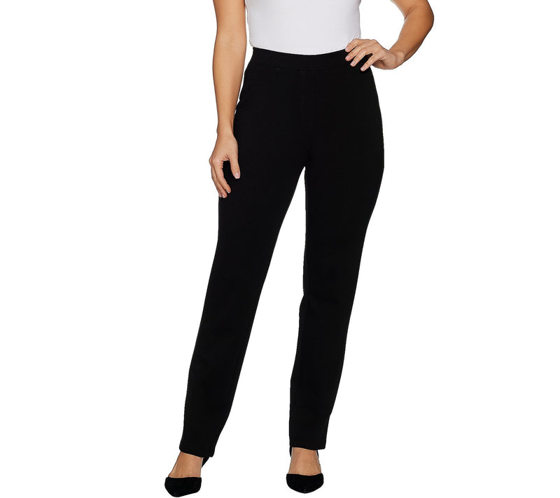 Susan Graver Regular Ponte Straight Double Knit Leg Pull-On Pants, Petite 2X, Black