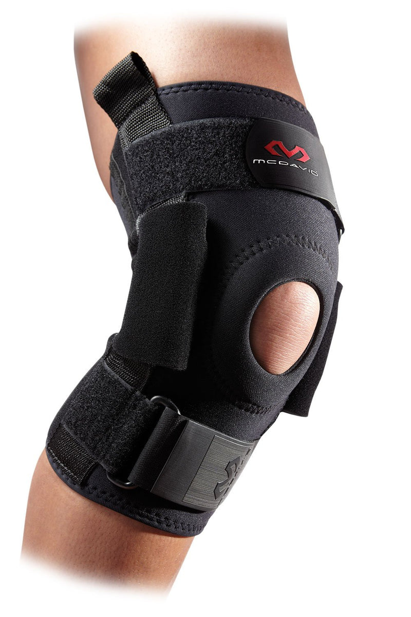 McDavid 428 Pro Stabilizer Medium Size (14 Inch - 15 Inch) Knee Brace with Polycentric Hinges and 4-Way Stretch Neoprene Sleeve, Black