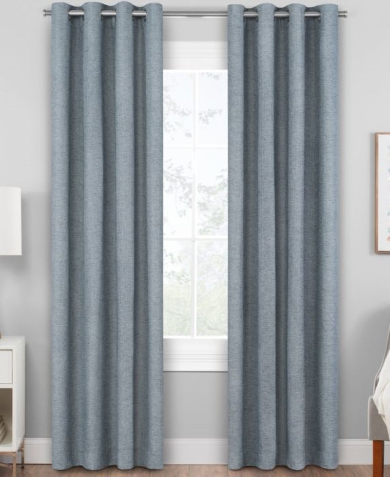 Hudson Hill Odrean Textured Design Grommet Top Single Panel Window Curtain, Size: 84 x 50 inches, Blue