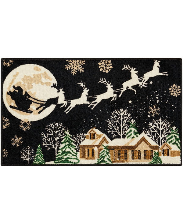 Nourison Reindeer 18 Inches x 30 Inches Accent Rug Bedding, Give Your Home's Holiday Decor a Magical Makeover with the Flying Reindeer Design, Black