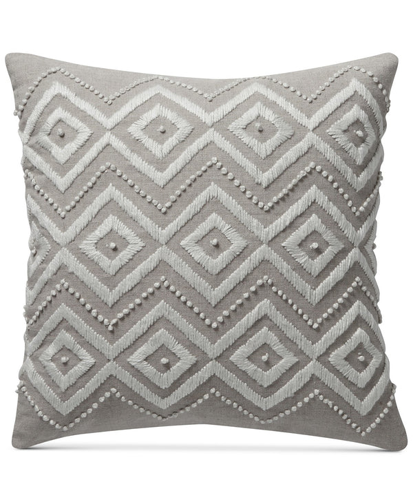 Lucky Brand Diamond Hand Embroidered Square Decorative Pillow, Hand Embroidered with Hand-Tied French Knots, 17 Inch, Tan or Beige