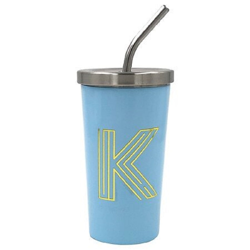 "Modern Expressions Classic Insulated ""K"" Monogrammed Durable Steel Tumbler, Blue"