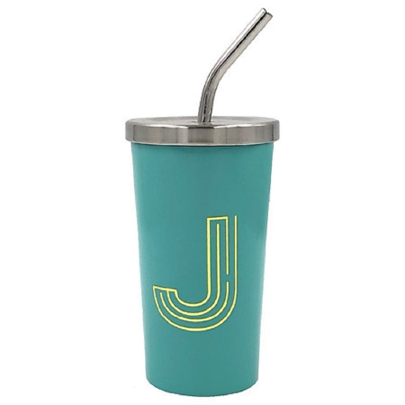Modern Expressions Gold Letter J Monogram Steel Tumbler with Steel Reusable Straw, 15 Ounce, Pink/Coral