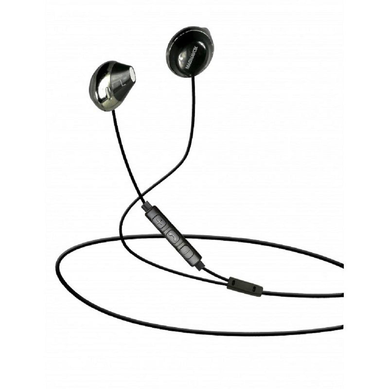Magnavox MHP4858-BK In-Ear Earbuds with Microphone and Remote Control, Enjoy Your Favorite on-the-go Tunes, Black